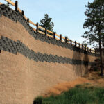 tan and gray retaining wall